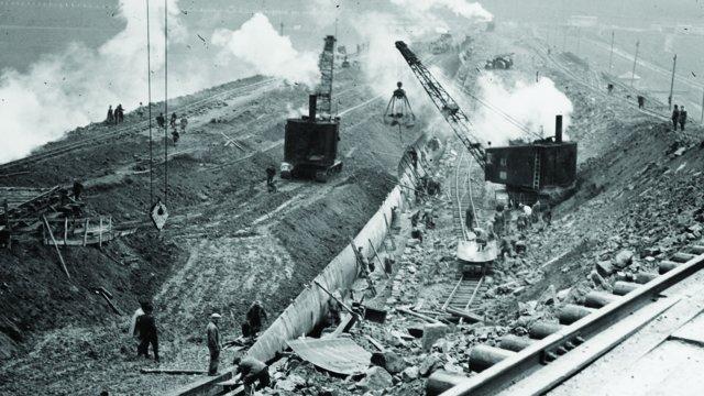 Bau der Bever-Talsperre 1936